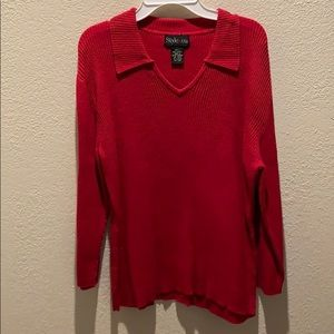 Style & Co Sweater 100% Cotton Ribbed Red L